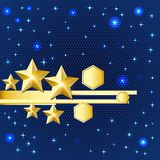 Abstract bright background with gold stars Stock Photography