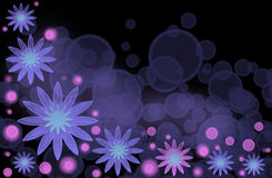 An abstract bright background with lilac flowers. And purple bubbles Stock Photos