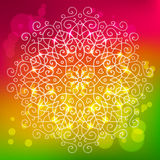 Abstract bright background with a round mandala ornament, sparkl Royalty Free Stock Photos