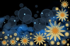 An abstract bright background with yellow flowers Royalty Free Stock Photo