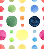 Abstract bright beautiful artistic wonderful bright blue, navy, turquoise, green, herbal, red, pink, yellow, orange circles patter. N watercolor hand sketch stock illustration