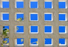 Abstract bright blue squares of modern architecture royalty free stock photography