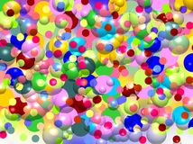 Abstract bright blurred bubbles playful colorful background, vivid colors. Abstract bright blurred bubbles playful background in purple white red yellow pink Royalty Free Stock Image