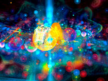 Abstract bright bubbles - digitally generated image. Abstract bright festive background - computer-generated image. Fractal art: glowing colourful chaos bubbles Royalty Free Stock Photos