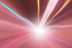 Abstract bright color lights background. Abstract tunnel bright color lights acceleration speed motion blur. Motion blur visualizies the speed and dynamics royalty free stock photos