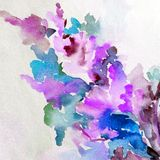 Watercolor colorful bright textured abstract background handmade . Floral pattern .Spring blossom branch in the garden . Abstract bright colored decorative royalty free illustration
