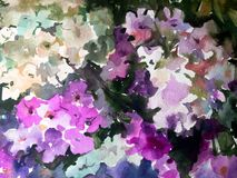 Watercolor colorful bright textured abstract background handmade . Floral pattern . Flower in the garden . stock illustration