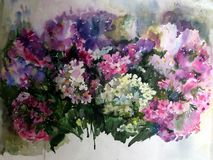 Watercolor colorful bright textured abstract background handmade . Floral pattern .Bouquet of phlox flower in the garden . stock illustration