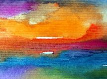 Watercolor abstract bright colorful textural background handmade . Painting of sky and clouds during sunset . Modern cosmic patter. Abstract bright colored stock illustration