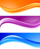 Abstract bright colorful backgrounds collection. Abstract elegant bright colorful backgrounds collection with blue orange purple wavy lines in soft smooth style stock illustration