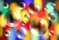 Abstract bright colorful pattern background with transparent 3d. Abstract bright colorful blurred pattern background with transparent 3d bubbles Stock Photography