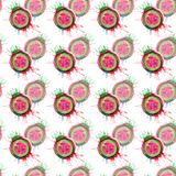 Abstract bright colorful delicious tasty yummy ripe juicy cute lovely red summer autumn cut watermelon with blots and spray patter. N watercolor hand Stock Image
