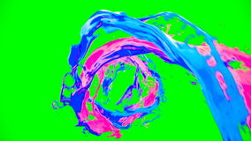 Abstract bright colorful liquid vortex flow with splashes on chroma key