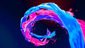 Abstract bright colorful liquid vortex flow with splashes slow motion