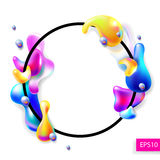 Abstract bright colorful plasma drops shapes with a black circle. Frame pattern isolated on white background for banner, card, poster, web design, vector stock illustration