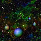 Abstract bright colorful universe.  Rainbow colored nebula night starry sky with planets.  Shiny multicolor outer space. Stock Photos