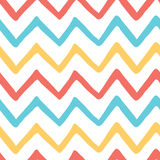 Abstract bright colorful zigzag seamless hand painted pattern. Royalty Free Stock Photo