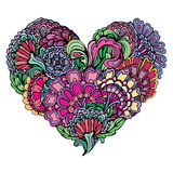 Abstract bright colors paisley ornament in heart shape,  Stock Photography