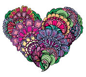 Abstract bright colors paisley ornament in heart shape,  Royalty Free Stock Photo