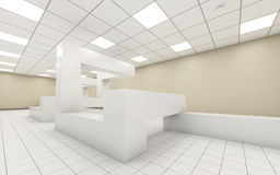 Abstract bright empty office room interior 3d. Abstract bright empty office room interior with chaotic geometric construction and yellow walls, 3d illustration vector illustration