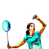 Abstract bright female badminton player. Serving shuttlecock Royalty Free Stock Images