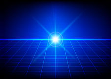 Abstract bright flare with grid perspective on blue background. Stock Photos