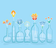 Abstract Bright Flowers And Bottles Background. Decorative background with set of bottles and vases and various flowers. line art hand drawn composition. Copy Stock Illustration