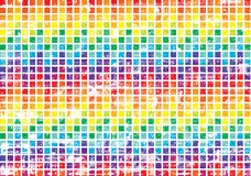 Abstract bright grungy squares background. Color abstract background with symmetrical grungy rainbow squares Stock Image