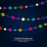 Abstract bright lights background. Christmas garland ornament. Stock Photos
