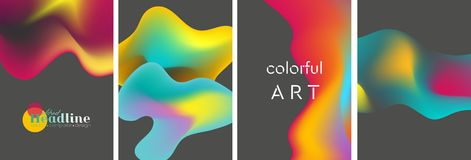 Abstract bright liquid wavy shapes backgrounds royalty free illustration