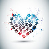 Abstract bright love paws Stock Images