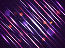 Abstract bright motion background with shiny diagonal stripes and bokeh effect royalty free illustration
