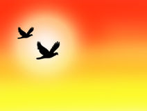 Orange and Yellow Skyscape with Sun and Birds. Abstract bright orange and yellow skyscape with glowing sun and silhouette of birds in flight background. With Royalty Free Stock Image