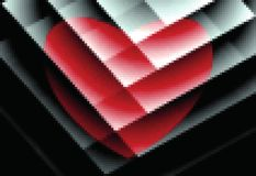 Abstract bright pattern. Red heart on white plates. Pixel art. stock photography