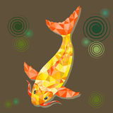 The Abstract bright polygonal gold fish on white background,  design. Stock Photos