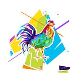 Abstract bright rooster. Sign of 2017. Royalty Free Stock Image