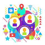Abstract bright social media network and online friends chat conversation flat concept template poster illustration. Royalty Free Stock Images