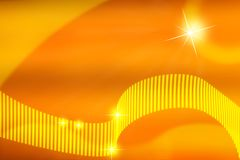 Abstract Bright Stars and Curves in Warm Yellow and Orange Background stock illustration