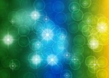 Abstract Bright Stars, Lights, Sparkles and Bubbles in Blue, Green and Yellow Background vector illustration