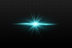 Abstract bright stylish light effect on a transparent background. Bright glowing star. Multicolored flares. Blue rays. Colorful fl stock illustration