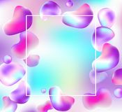 Abstract frame with drops of liquid. Abstract bright vector colorful background with falling drops of liquid. Pink and violet shapes and frame for text on a vector illustration