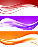 Abstract bright waves collection. In orange purple red colors and smooth elegant dynamic style. Vector illustration royalty free illustration