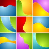 Abstract bright wavy backgrounds set Stock Photo