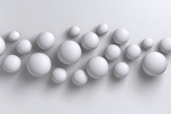 Abstract bright white 3D low polygon geometric spheres backgroun. D shapes illustration Stock Image