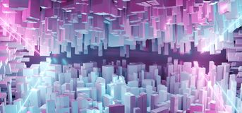 Abstract Bright White Modern Futuristic Sci Fi Fantasy Blue And. Purple Lighted Neon Tubes City Closeup Tech Concept Background Wallpaper 3D Rendering stock illustration
