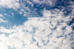 Abstract of the brightness white clouds in blue sky. Background Royalty Free Stock Photo