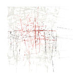 Abstract broad pen stroke brown and pink red Stock Photo