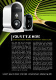 Abstract brochure background with computer case. Abstract black brochure or poster background with computer case vector illustration