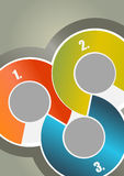Abstract brochure background with three colored circles with num Stock Photo