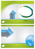 Abstract brochure composition. With arrows based on green and blue colors stock illustration